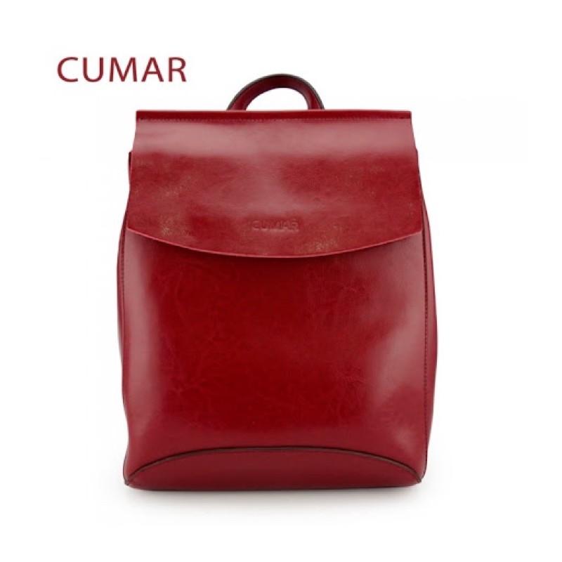CUMAR 真皮兩用極簡牛皮後背包(可裝A4)-知性紅
