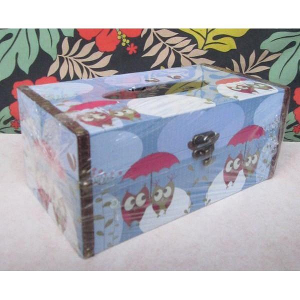 【浪漫349】特價撐傘貓頭鷹英國倫敦街景英倫雙層紅巴士 玫瑰蝴蝶面紙盒 單款價