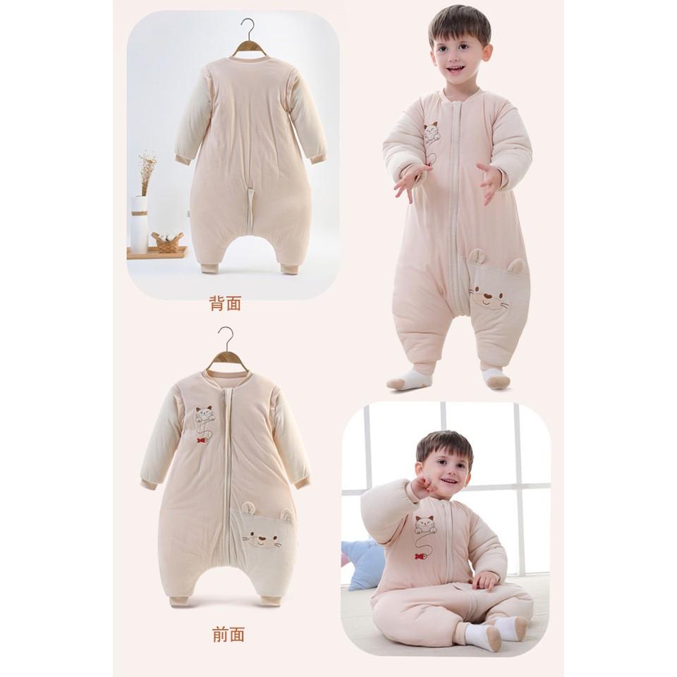 睡袋嬰兒秋冬彩棉大童0-6歲寶寶分腿防踢被卡通加厚空調被