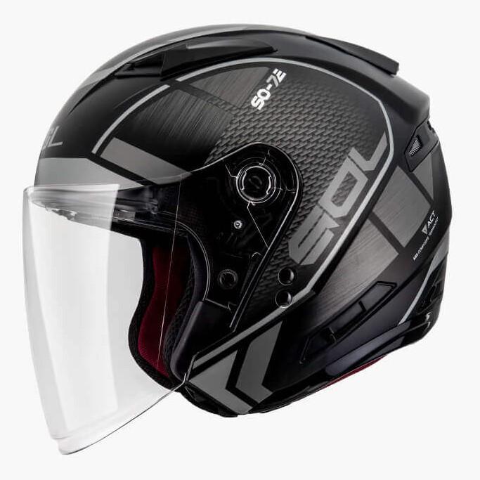 SOL SO7E SO-7E 幻影 消光黑銀 半罩內藏墨鏡 雙D扣 雙層鏡安全帽 JAP《送折價卷200元》