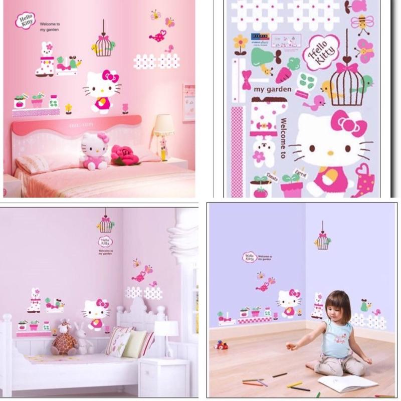 牛牛ㄉ媽~韓國進口HELLO KITTY壁貼 磁磚貼 兒童遊戲房裝飾壁貼 花園散步款民宿居家餐廳安親班嬰兒房佈置
