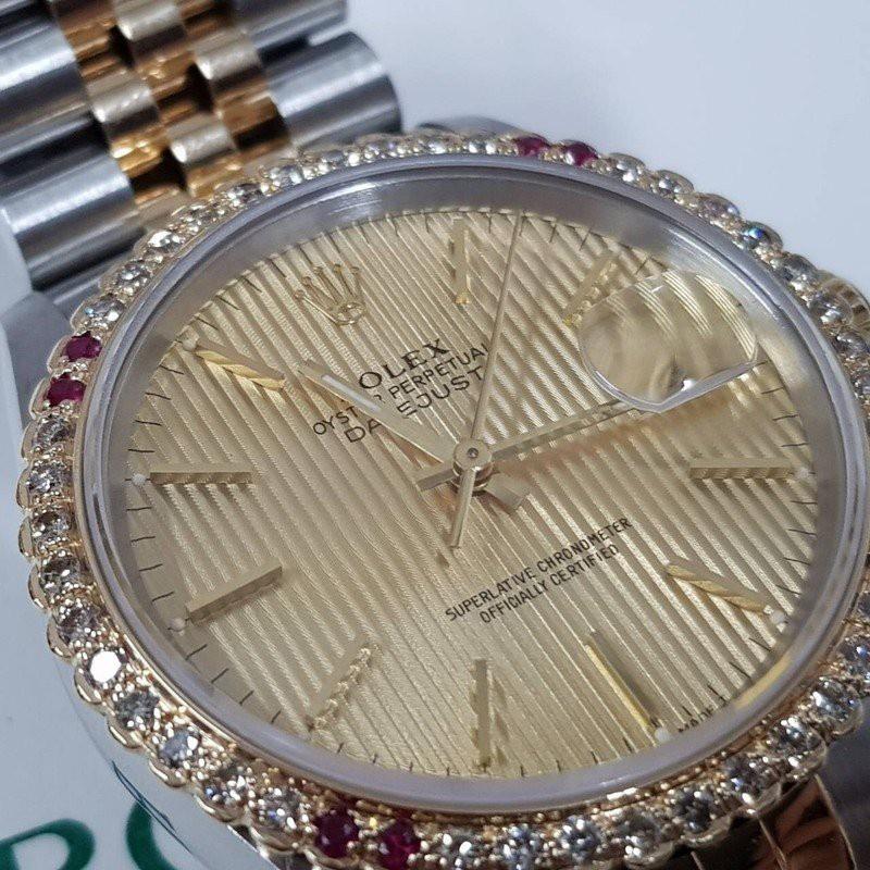 ROLEX勞力士 蠔式半金 16233 錶徑36mm 直條面盤 自動機芯 外加天然鑽石紅寶錶圈