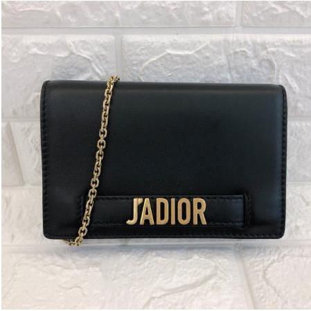 正品二手DIOR Christian Dior 黑色牛皮JADIOR鏈帶WOC 手拿包