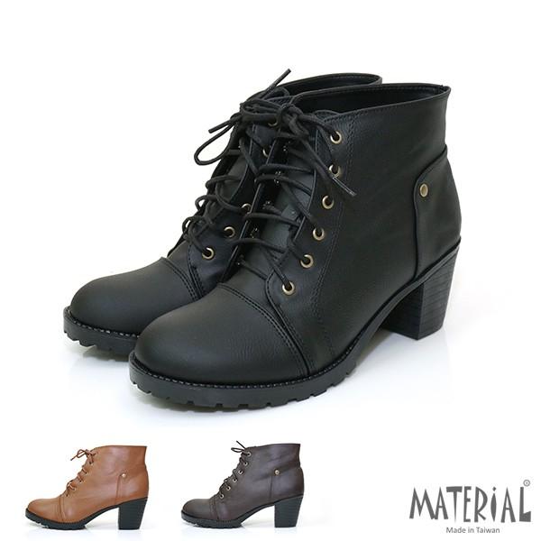 短靴 素面綁帶短粗跟短靴 黑/咖/棕 T1389