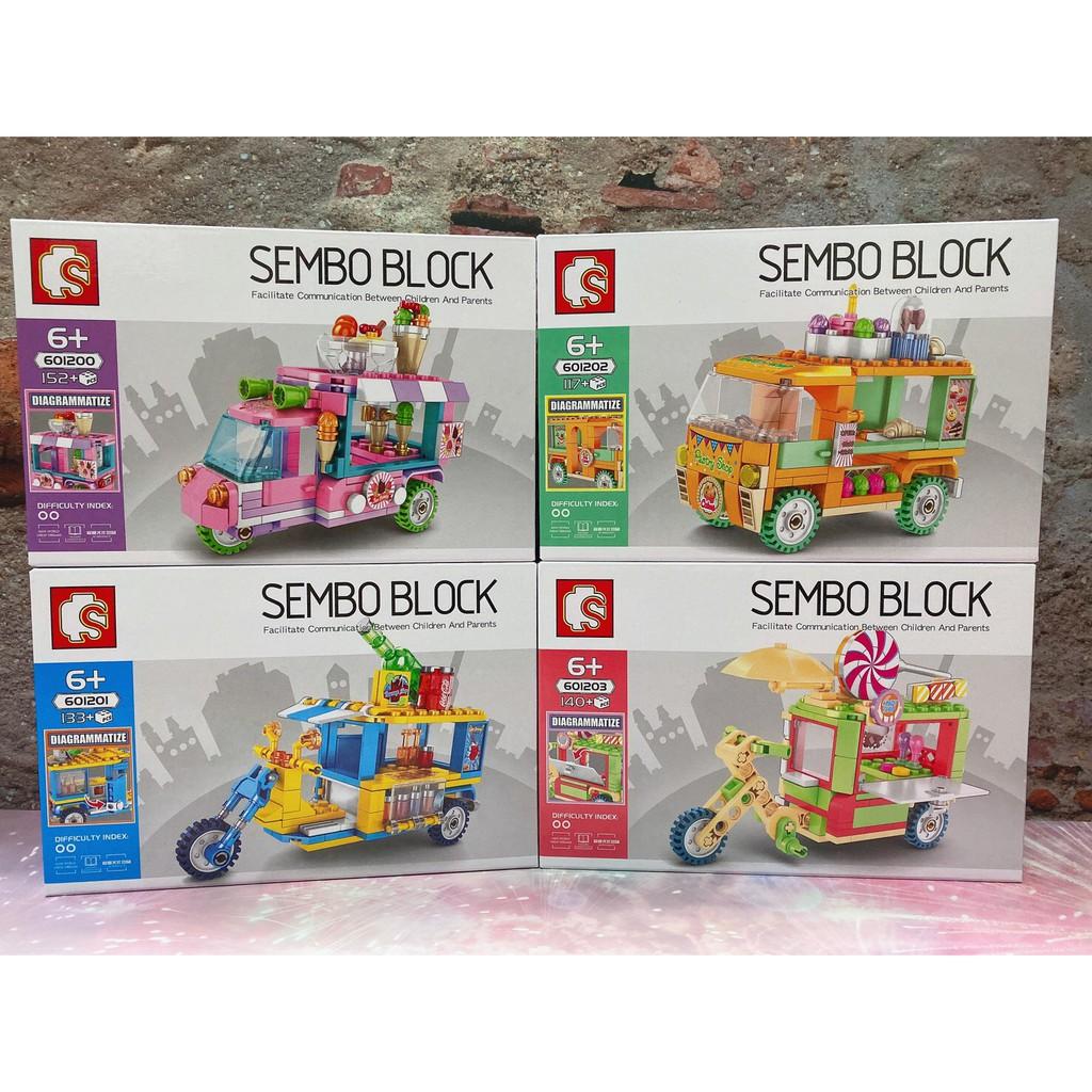 SEMBO 森寶SD601200-601203城市系列 冰淇淋 飲料 點心 棒棒糖外賣攤車 販售車 餐車積木