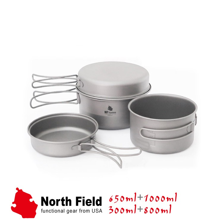North Field 美國 鈦二鍋二碗 TD070+TD071(2750ml)/煎盤/露營/鈦鍋/鈦碗