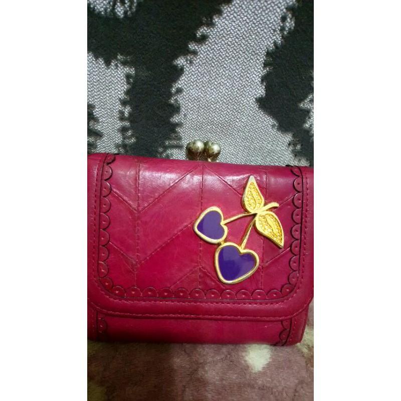 Anna Sui 紫紅色可愛水鑽愛心櫻桃皮夾