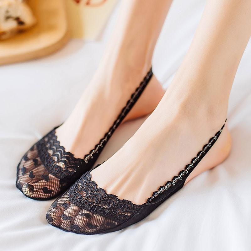 惠利購~8雙前腳掌半掌蕾絲襪子女吊帶船襪純棉淺口隱形夏季薄款高跟鞋襪