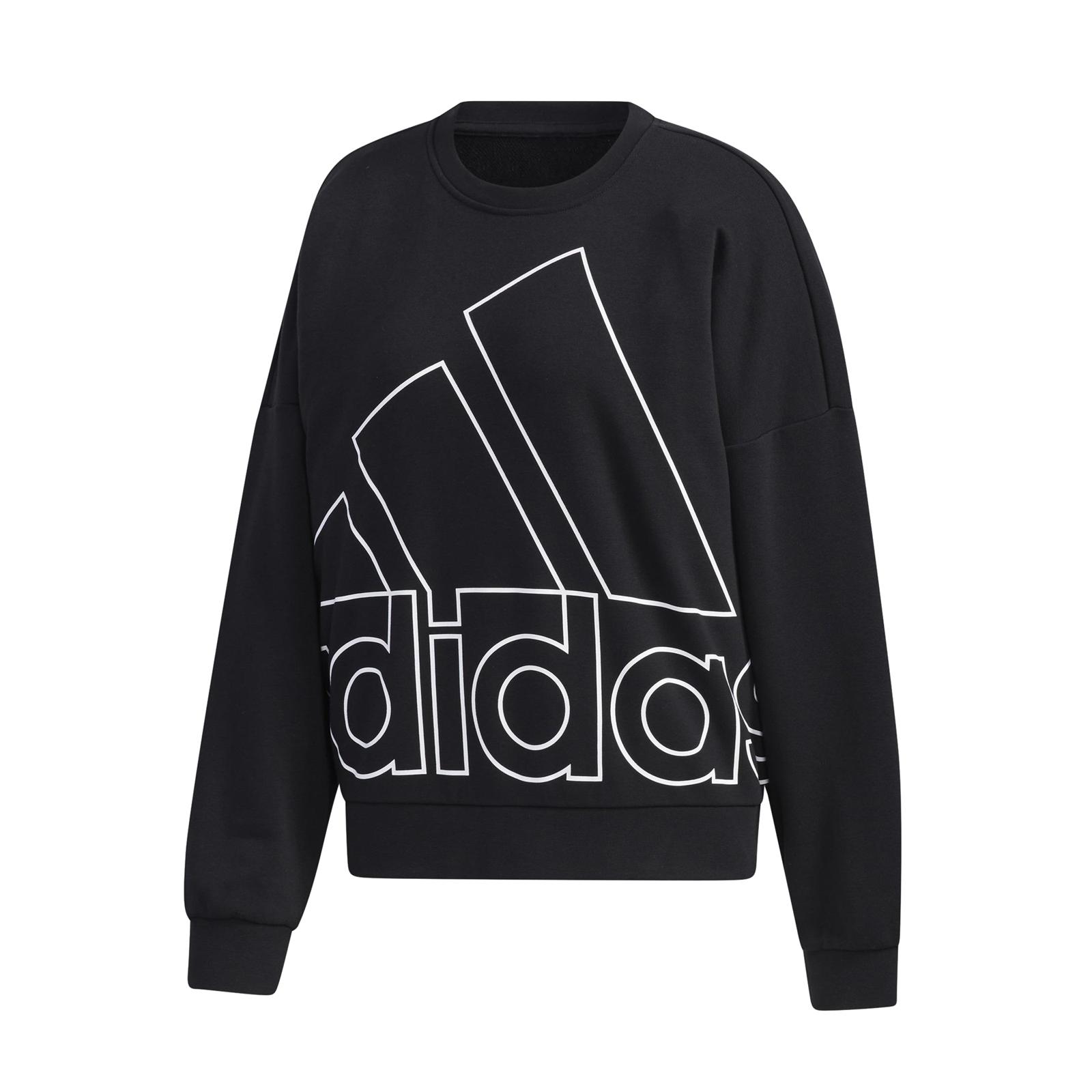 adidas 長袖上衣 Graphic Sweatshirt 黑 大Logo 大學TEE 女款 【ACS】 GK0614