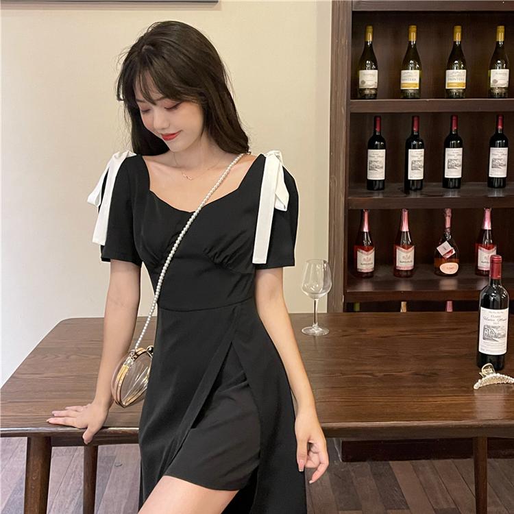 M-4XL大尺碼衣著 夏季2021新款復古港味收腰顯瘦中長款開叉氣質設計感短袖連衣裙女