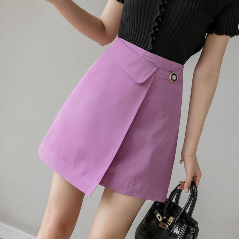 【現貨】紫色a字裙不規則高腰裙子顯瘦半身裙包臀迷你短裙女生學院風ins潮防走光安全褲裙