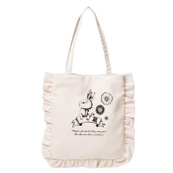 全新 earth music & ecology 兔兔印花荷葉滾邊帆布手提包