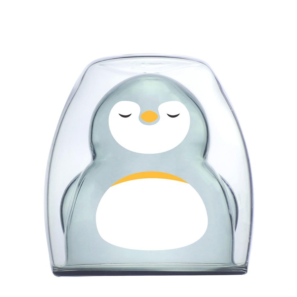 【好玻GOODGLAS】 企鵝雙層杯-透黑/清透-共2款《泡泡生活》玻璃水杯 隔熱 可愛動物 下午茶