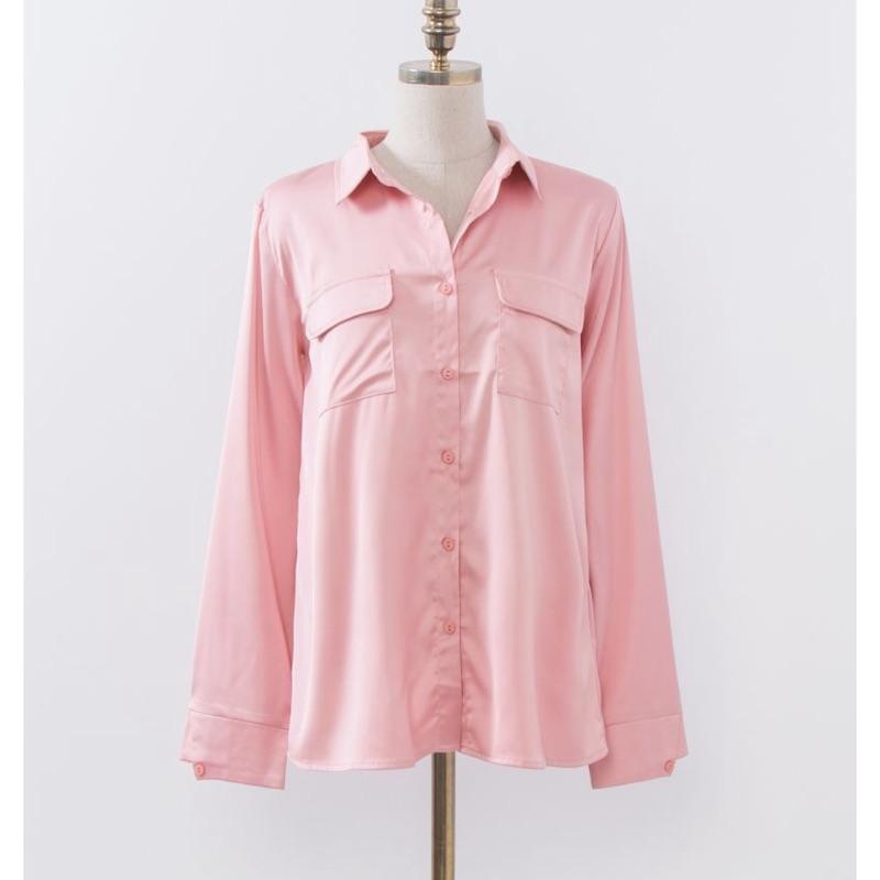 Mercci22 光澤感口袋絲緞襯衫