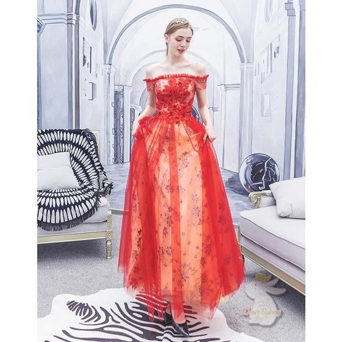 🐇L9130 現貨 一字領長款禮服 紅色敬酒服 新娘禮服裙洋裝 綁帶  婚禮婚宴 婚紗結婚禮服S