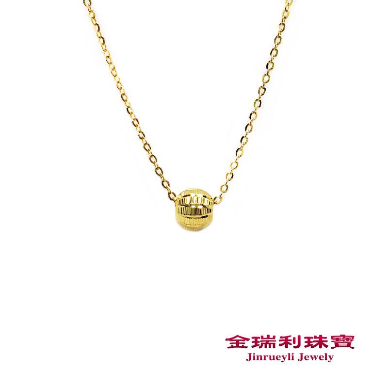 金瑞利珠寶9999純金 閃耀格紋黃金金珠項鍊0.48錢 3D硬金金珠5G黃金項鍊