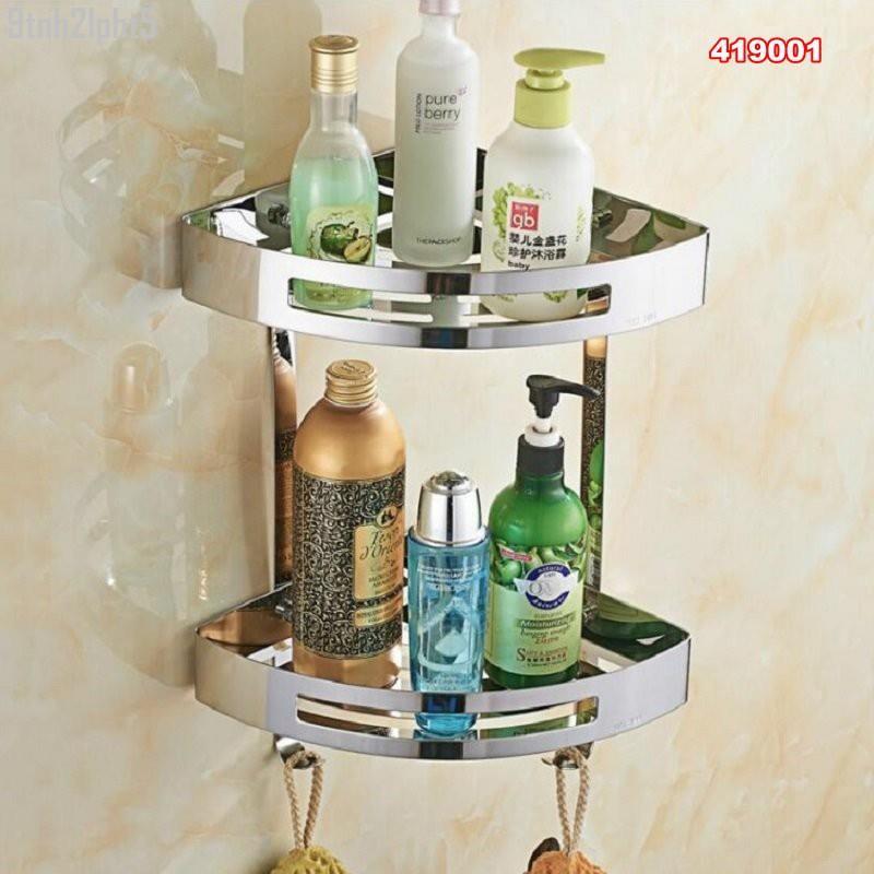 【music】SUS304不銹鋼鏡光 兩層鋼板置物架 三角鋼板架 浴室轉角架 001