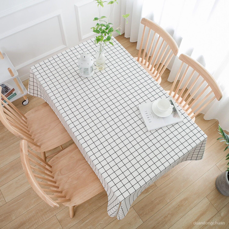 時尚居家裝飾桌布日式棉麻桌布布藝北歐ins格子少女心宿舍書桌長方形餐桌茶几台布