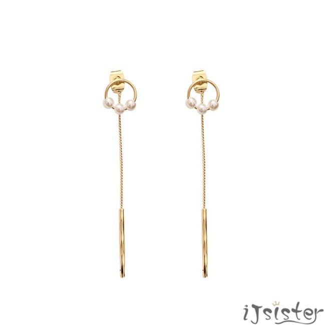 長款珍珠一字流蘇金屬幾何甜美造型耳針耳環A57
