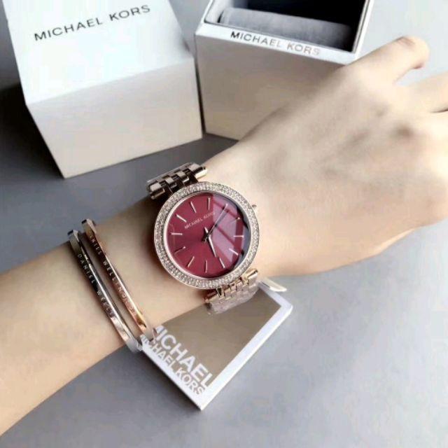 f5f574c44618 日本銀座代購MICHAEL KORS 手錶MK3402 玫瑰金優雅晶鑽酒紅色錶盤不銹鋼錶帶腕錶/女錶/39mm | 蝦皮購物