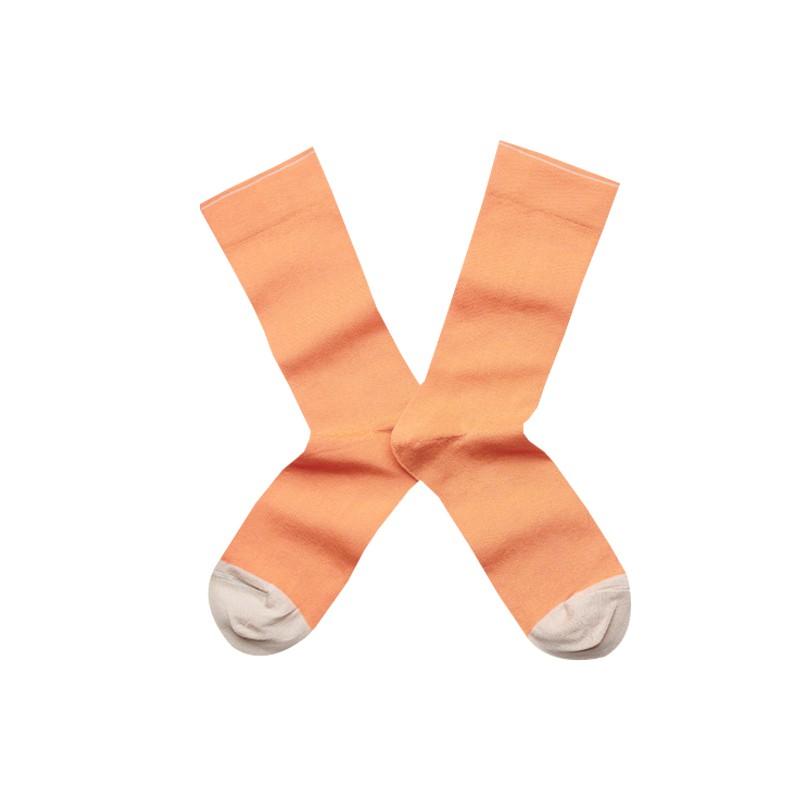 法國Bonne Maison Adobe Socks土坏橘素色中統襪UN1-71