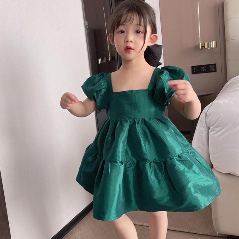 女童韓版氣質方領泡泡袖甜美連衣裙 夏季女寶寶可愛公主裙子【IU貝嬰屋】