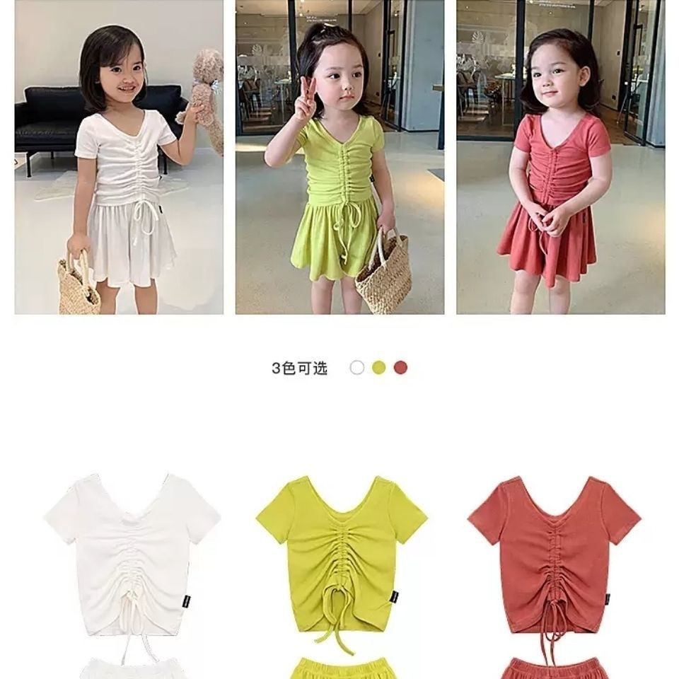 -nice-網紅女童裝2021洋氣女寶寶短恤套裝兒童時髦抽繩T恤短褲兩件套