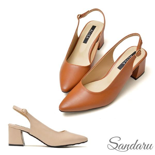韓版簡約後空尖頭鞋中跟鞋【棕、杏色下單區】三天出貨
