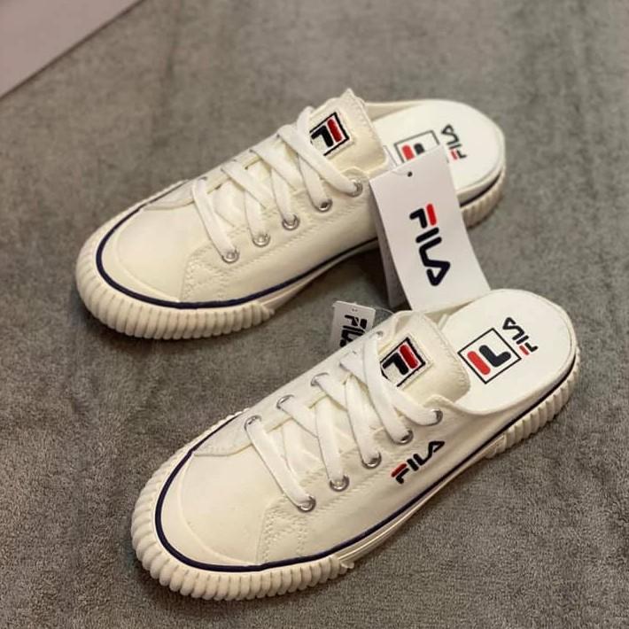 Fila bumper mule 韓版 白色 懶人鞋 帆布鞋 4-C122U-920