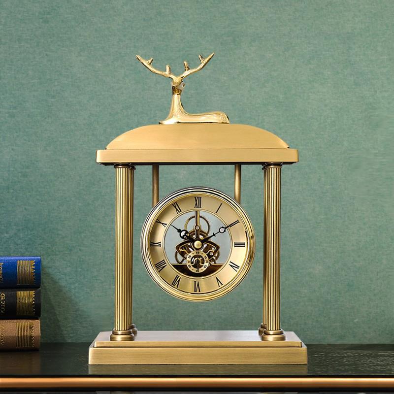 奢華桌面臺式鐘表座鐘客廳創意銅質時鐘擺件歐式立式擺鐘美式坐鐘