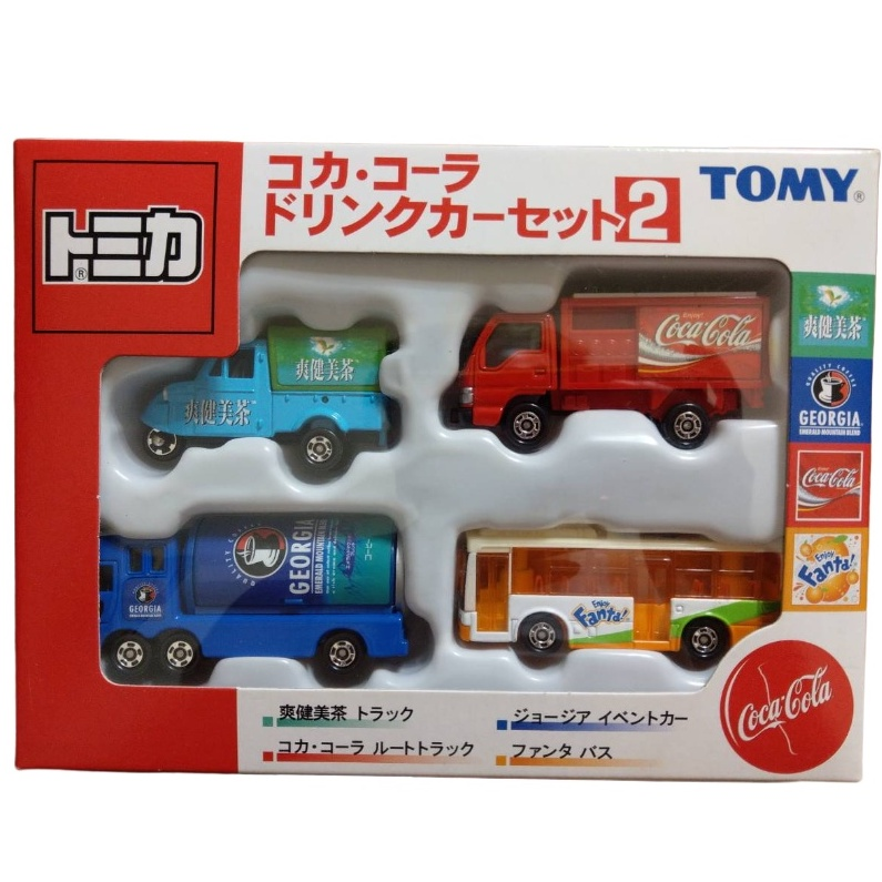 Tomica 可口可樂 車組 2 貨車 巴士 三輪車