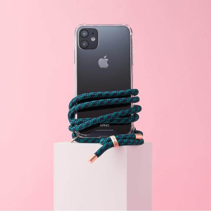 Arno 編繩背帶透明iPhone手機殼_倫敦綠