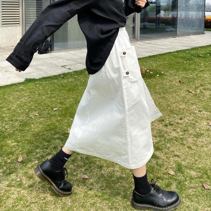 長裙 過膝裙 2020夏裝新款設計感口袋工裝裙復古不規則半身裙女高腰A字中長裙