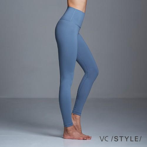 VC style 運動長褲高腰九分超彈棉感純色 solid color-雨藍 3615108