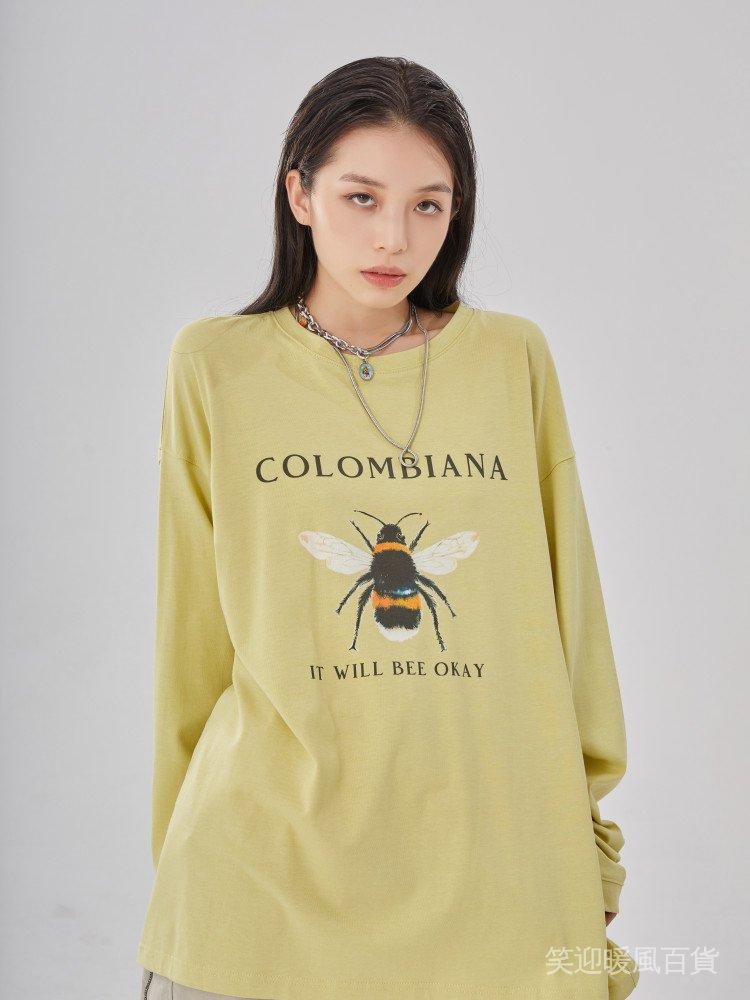 CBIANA/20AW 潮牌嘻哈蜜蜂印花長袖T恤 國潮情侶款衛衣男女 2e56
