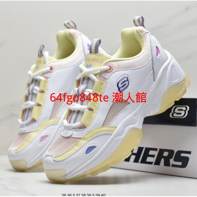 Skechers/斯凱奇厚底老爹鞋情侶鞋女果凍鞋運動鞋