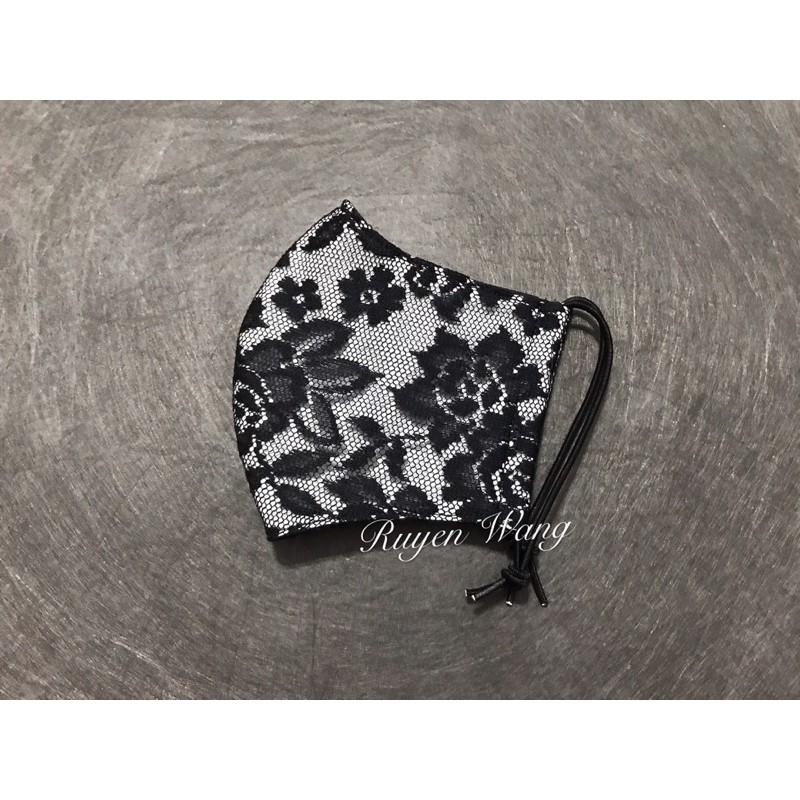 黑色蕾絲立體口罩套/2色