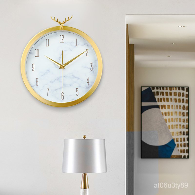 【現貨 免運】黃銅簡約歐式掛鐘錶現代客廳家用北歐創意個性時尚純銅輕奢時鐘