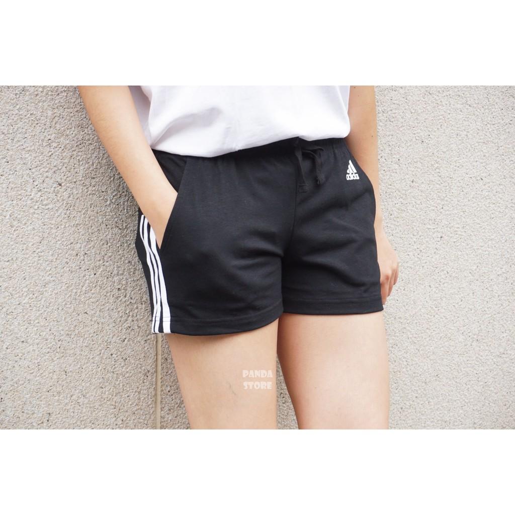 胖達)ADIDAS Sport Logo 愛迪達 三線 三條線 棉 運動 短褲 小熱褲 BR5963 黑 女