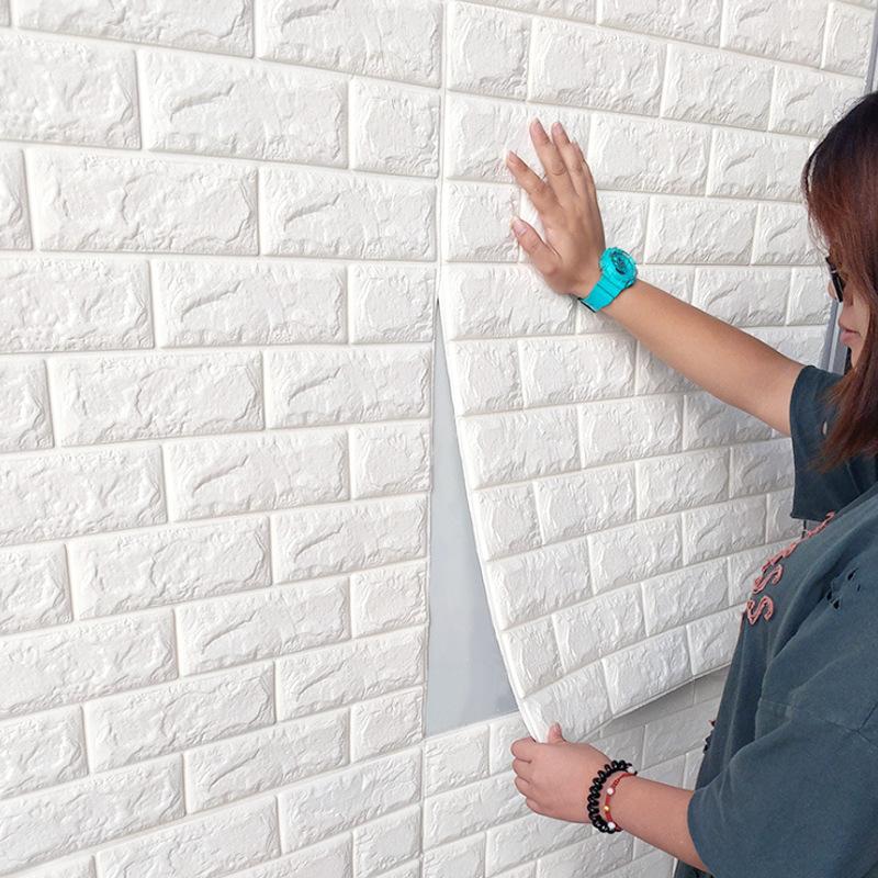 【現貨】70*77cm 自粘3d立體磚紋壁貼 防撞防水背景牆 加厚壁貼 自黏壁貼 翻新裝修 裝潢 磚紋 隔音壁貼