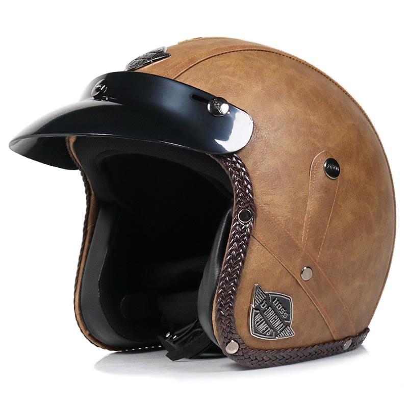 特惠 🔥VOSS摩托車哈雷頭盔男復古機車安全帽手工PU皮革頭盔3/4半盔四季