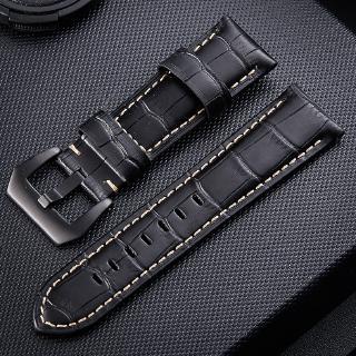 通用手錶帶 沛納海手錶真皮錶帶 外貿爆款竹節紋牛皮手錶帶 拉絲黑色銀色精鋼表扣  20mm 22mm 24mm 26mm