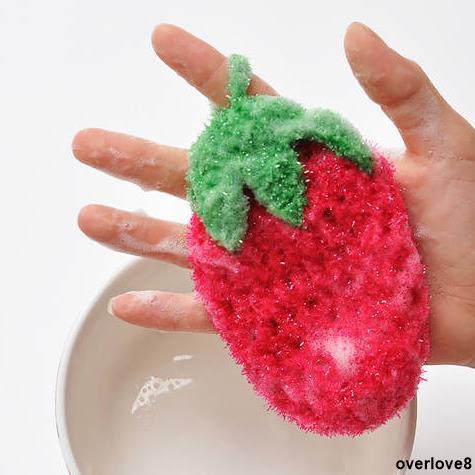 新品特賣⚡超萌 出口韓國可愛草莓水果 洗碗巾 百潔布 刷碗布 不沾油不傷手