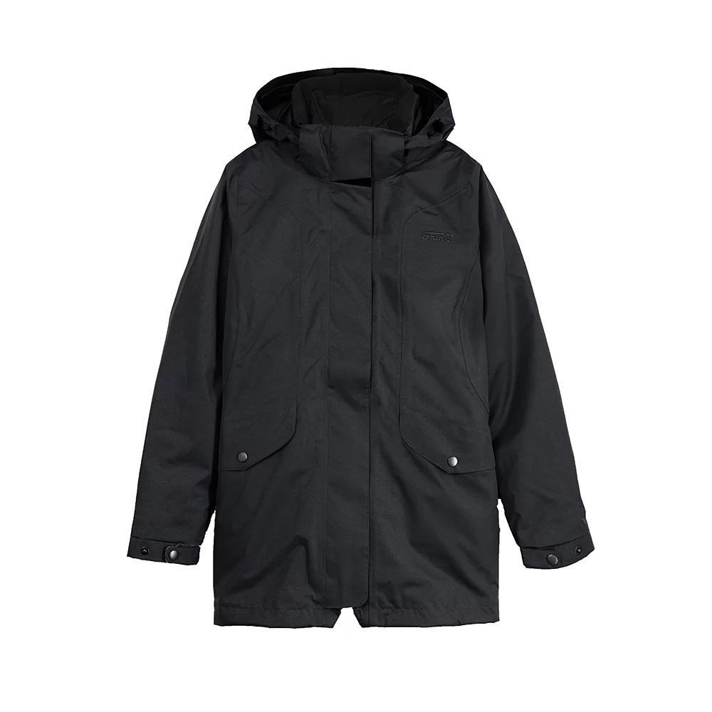 GFun 女款防水耐寒2in1蜂巢格紋外套-黑