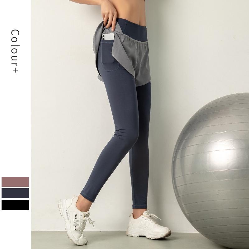 裸感棉假兩件瑜伽褲女 高腰提臀緊身小腳健身褲 跑步運動彈力運動長褲