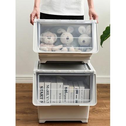 掀蓋斜口收納箱 大容量 可疊加掀蓋收納箱 翻蓋收納盒 收納架 前開式透明零食箱 儲物櫃子