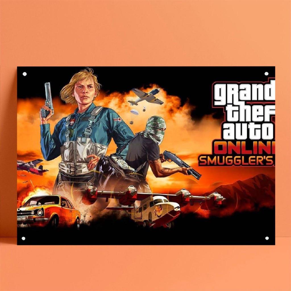 Switch PC PS4 Nintendo Game俠盜獵車手GTA海報鐵皮畫錫標誌金屬標牌酒吧酒館家居墻壁裝飾-z6
