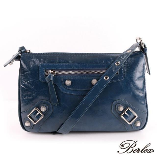 BERLOX 寶黎思 寶藍色 全馬皮 斜背包 側背包 手提包 肩背包 女包 BLX-10A6-NY