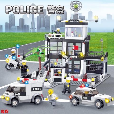 LaLa樂高積木拼裝城市系列警察局消防局軍事汽車男孩兒童兼容樂高玩具