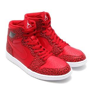 NIKE AIR JORDAN 1 RETRO HIGH 爆裂紋皮革籃球鞋(紅黑)839115-600.男